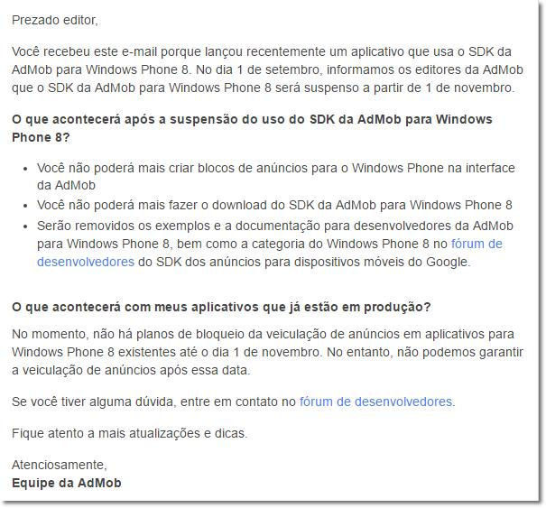Imagem: Reprodução AdMob – Google em email interno para desenvolvedores