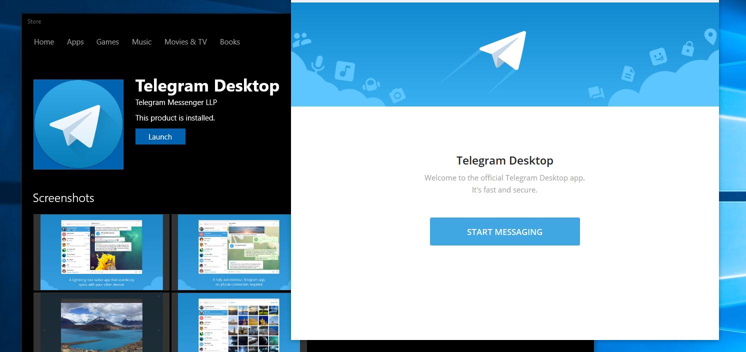 App oficial do Telegram Messenger para PC's disponível na Windows Store
