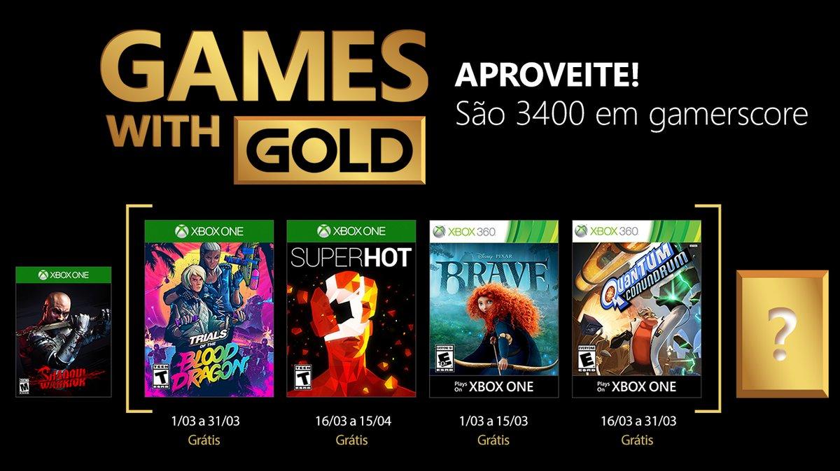 Vamos a lista dos jogos do Games With Gold de março de 2018