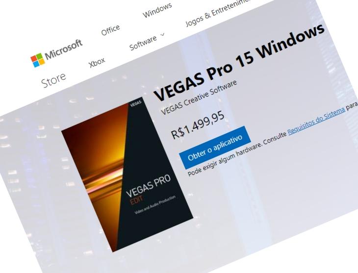 VEGAS Pro 15 disponível na Microsoft Store