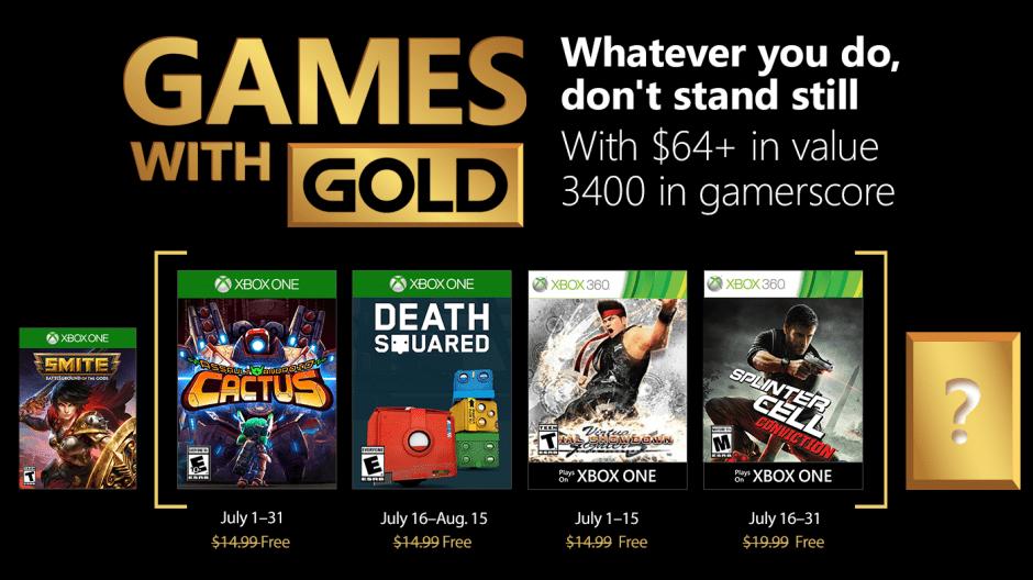 Game With Gold de julho de 2018 tem Splinter Cell Conviction e mais…