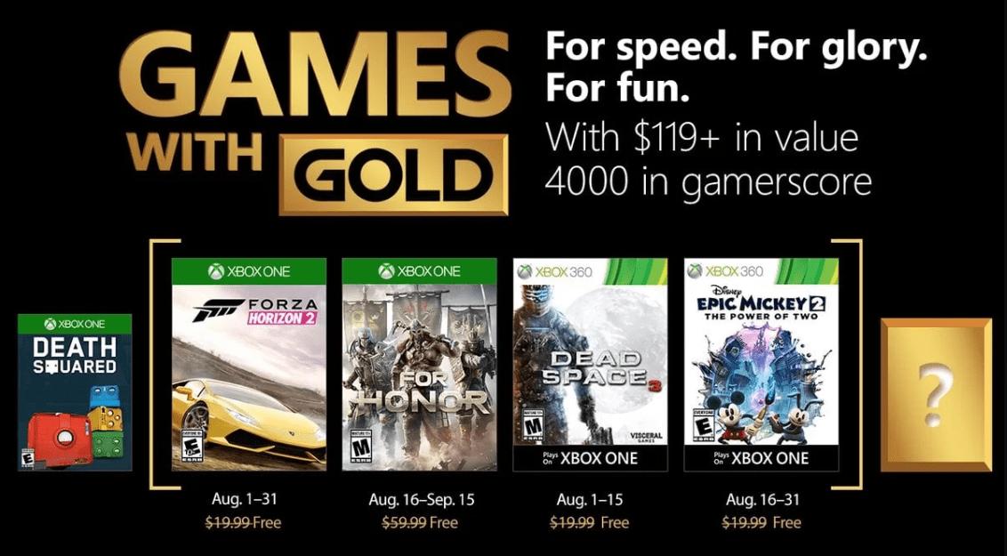 Games With Gold de agosto tem Forza Horizon 2 e For Honor