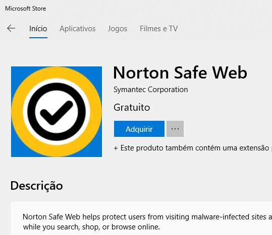 Extensão do Norton Safe disponível para o Microsoft Edge