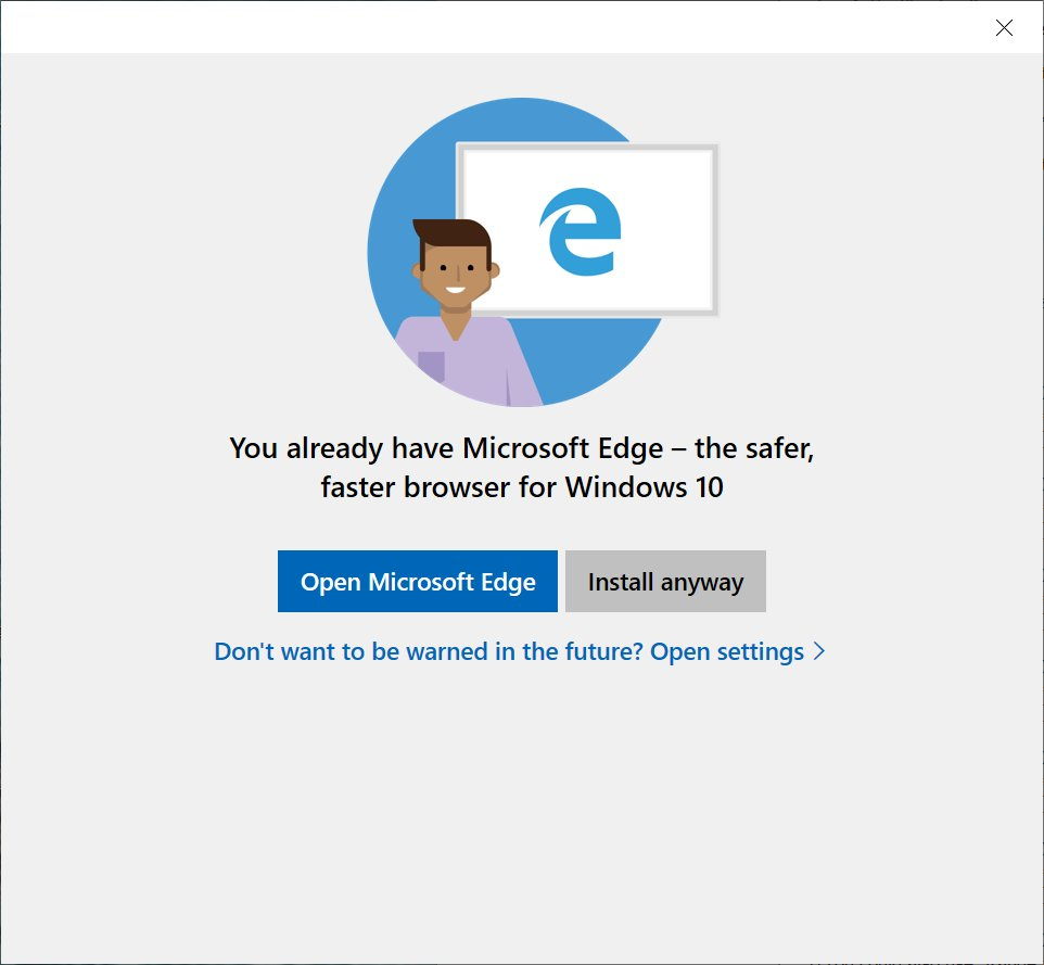 Aviso para testar o Microsoft Edge antes de instalar o Chrome será eliminado