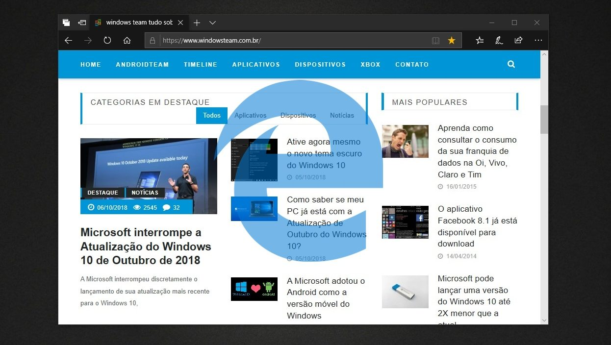 Novidades do Microsoft Edge via Atualização de Outubro do Windows 10