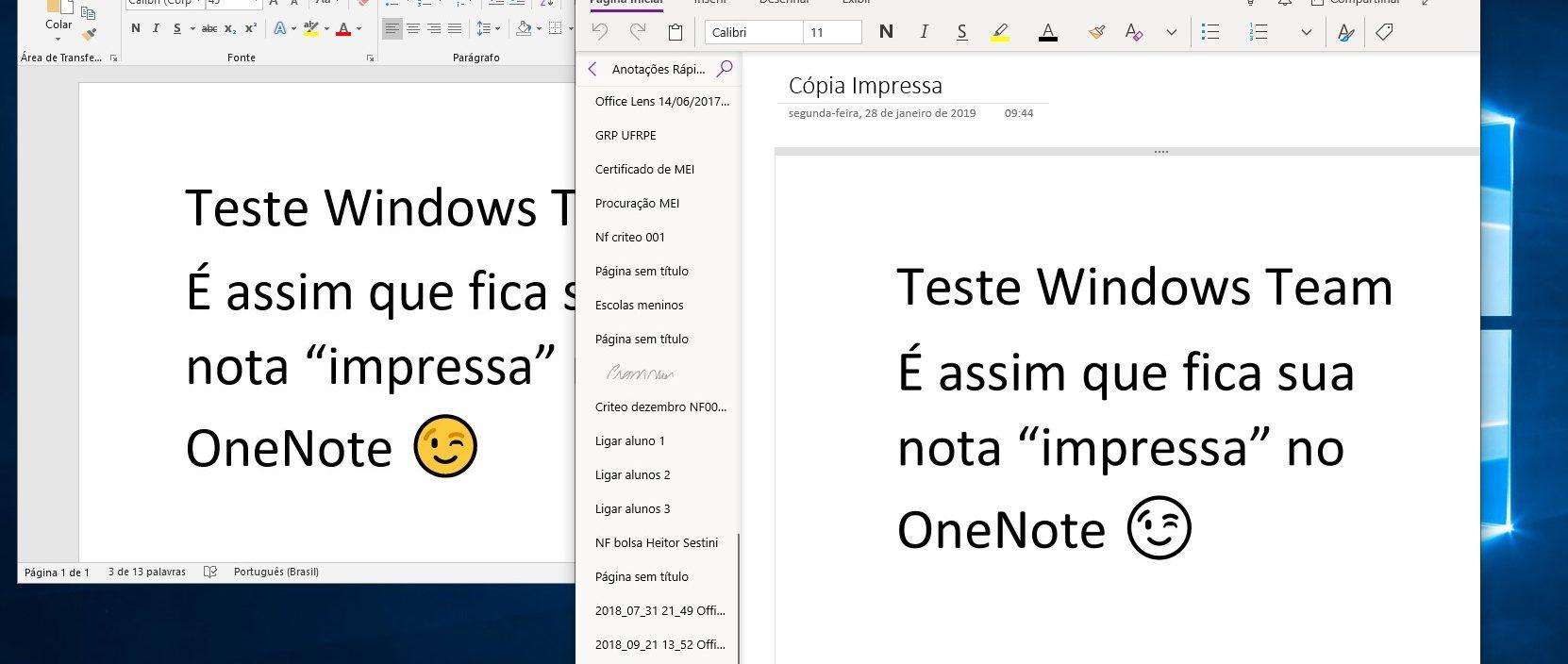 OneNote agora também consta na lista de impressoras no Windows 10