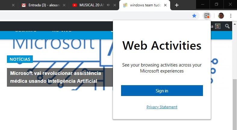 Microsoft lança extensão da Timeline do Windows para o Google Chrome