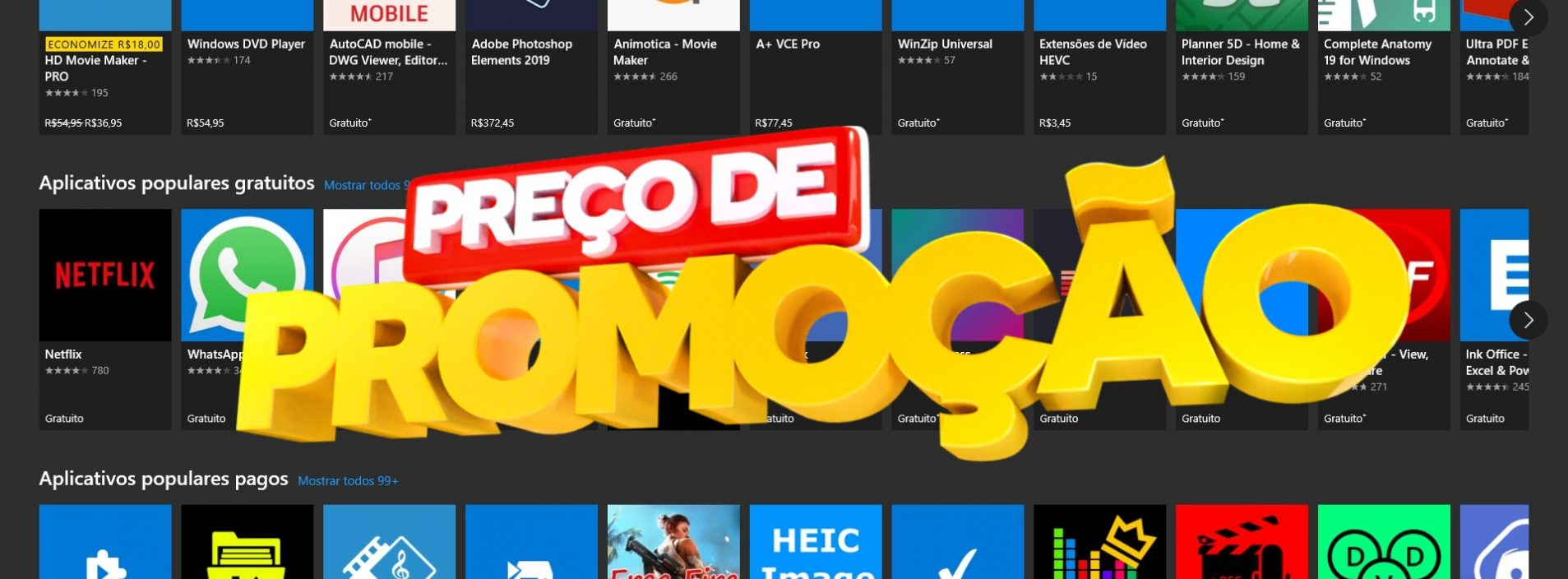 Ofertas especiais de apps na Microsoft Store para Windows 10