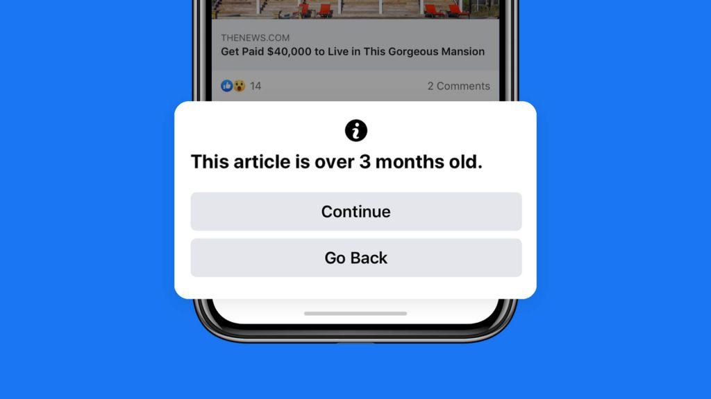 Facebook irá alertar sobre compartilhamento de conteúdo desatualizado